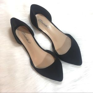 Breckelle's Suede D'Orsay Flats, Black, Size 7